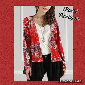 (L) NICE Red Floral Open Cardigan XL 12 14